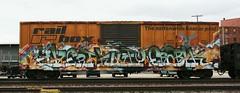 Avert/Kutty/Erabik (quiet-silence) Tags: railroad art train graffiti railcar boxcar graff freight mfk avert ttx rbox fr8 endtoend railbox kutty e2e iok erabik rbox38549