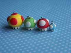Mario mushroom (CuteTanpopo) Tags: cold cute art nerd mushroom miniature geek modeling handmade crafts nintendo ds mario charm biscuit creation clay gamer kawaii figure videogame toadstool cogumelo porcelain polymer airdry