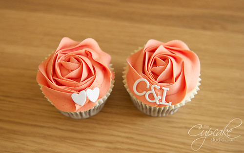 Coral & White Wedding Cupcakes