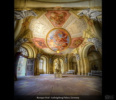 Baroque Oval - Ludwigsburg Palace, Germany (HDR Vertorama) - [Explored] (farbspiel) Tags: panorama sculpture history photoshop germany painting logo geotagged nikon wideangle palace historic handheld stitching photomerge baroque stitched dri deu hdr ludwigsburg watermark hdri topaz adjust superwideangle infocus 10mm postprocessing badenwrttemberg ultrawideangle photomatix wasserzeichen tonemapped tonemapping denoise watermarking detailenhancer residenzschlossludwigsburg vertorama d7000 sigma1020mmf35exdchsm geo:lat=4890095075 geo:lon=919605017