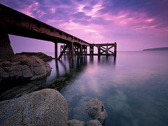Down at the Pier (PeterYoung1) Tags: ocean uk longexposure pink blue light sea seascape colour water clouds canon landscape scotland pier rocks colours purple scenic scottish scene landschaft 1022 wow1 wow2 wow3 wow4 portencross 50d wow5 wowhalloffame portencrosspier doublyniceshot mygearandme mygearandmepremium mygearandmebronze mygearandmesilver mygearandmegold mygearandmeplatinum mygearandmediamond dblringexcellence tplringexcellence aboveandbeyondlevel4 eltringexcellence