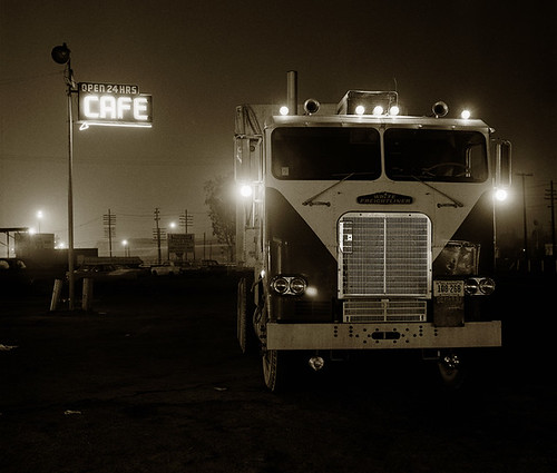 Steve Fitch, Truckstop, HIghway 58, Bakersfield, California, 1972