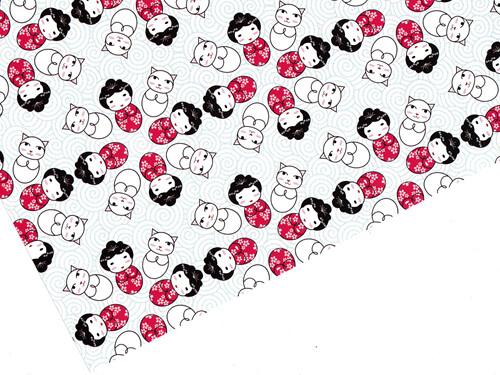 Kokeshi Flowers Gift Wrap