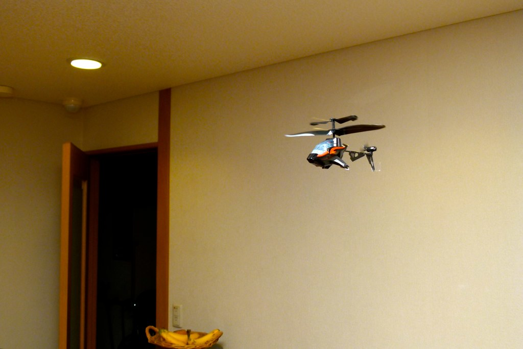 Enjoying indoor heli flight