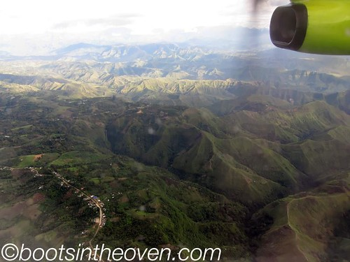 View from our prop plane; approach to Popayan