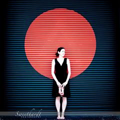 30 :: 31 (sweethardt) Tags: door red woman black female circle bay garage brunette corrugated loading lbd