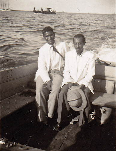Ahmed & Mirsaal in a navy launch. Port Said, 1946.