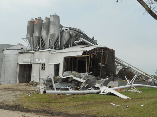 The Reading Grain & Lumber Company facility, an important source of local employment, was heavily damaged by the tornado.
