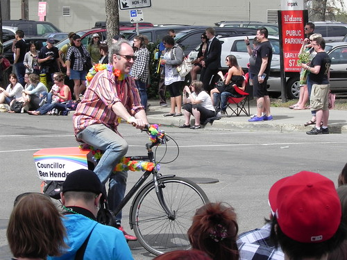 A photo of City Councillor Ben Henderson in Edmonton's 2011 Pride Parade.