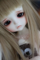 saddness (Aya_27) Tags: brown yellow puppy bigeyes doll special lea bjd custom dollfie saddness limited ws dollie latidoll fulllips andreja whiteskin lati sadlook enchantedeyes packmansweater
