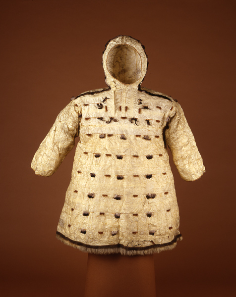 Waterproof Parka made of the throat lining of sea lions. Collected by G.B. Gordon in 1905. Penn Museum object NA247, image 149958.