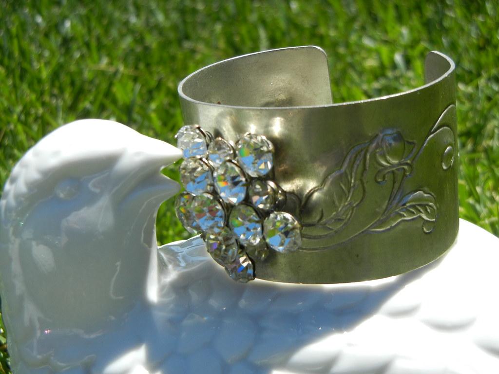 Vintage Rhinestone Filigree Cuff Bracelet
