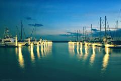 The signpost on the sea (y2-hiro) Tags: blue light sea sky seascape harbor nikon dusk 2470mm d3s
