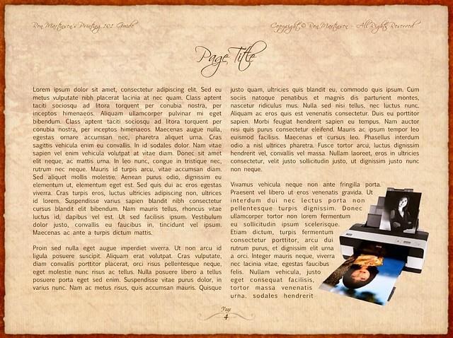 Printing 101 Custom eBook Template Page