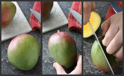 How to: Cut a mango Collage 1a