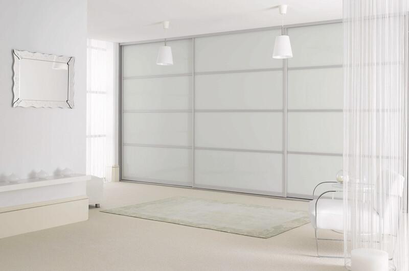 Sliderobes fitted sliding wardrobe white glass silver master bedroom