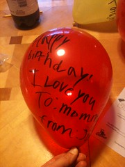 Every one of my birthday balloons filling the living room had a msg on it