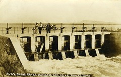[IDAHO-F-0002] North Side Canal Headgates at Minidoka Dam (waterarchives) Tags: idaho irrigation reclamation headgates realphotopostcardrppc minidokaproject minidokadam northsidecanal