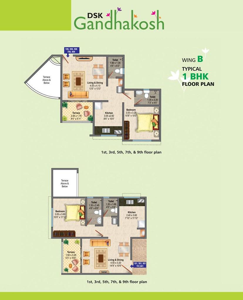 DSK Gandhakosh 1 BHK Typical Floor Plan