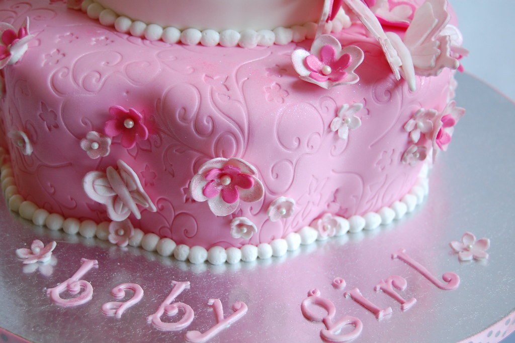 Butterflies and Flowers Baby Shower Cake 1