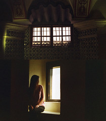 san angel (air and water) Tags: selfportrait window 35mm mexico mexicocity df alone monastery canonae1 expiredfilm sanangel sanjacintoplaza museodelcarmen laciudaddemexico