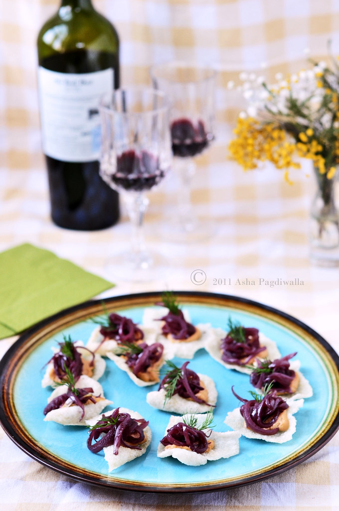 Wine Braised storage Onions Canapes