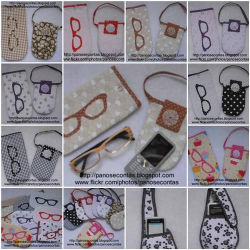 Porta-óculos e porta-celular by Panos e Contas
