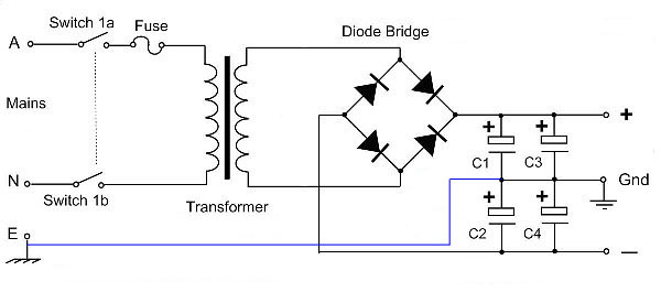 dual polarity power supply with a single secondary transformer