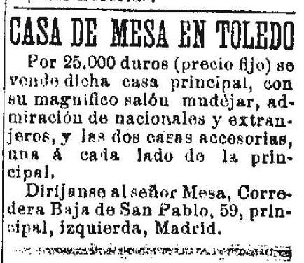 Anuncio de venta de la Casa de Mesa el día 30 de octubre 1892 en el diario La Época