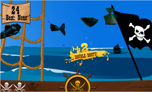 "Best WP7 Games JakePoz Pirates Ahoy Slicing game ""Booya Gadget"""