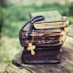 Spring Cleanse. Old books. (Tanjica Perovic) Tags: stilllife green church nature vintage outdoors photography reading fotograf photographer cross awakening god good faith religion praying belief books squareformat bible christianity spirituality tradition healing orthodox soulful helpful cure orthodoxchristian mentalhealth detox oldbooks soulfood  rejuvenate prayerbooks prayerrope srpski  fotografija  canoneos400d sigma1770mmf2845dcmacro   spiritualhealth   oldchurchbooks  tanjicaperovicphotography