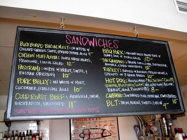 Sandwich menu at Cochon Butcher