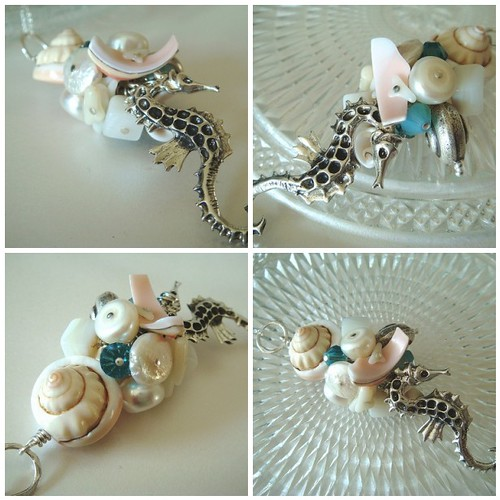 Seahorse & Shells - Sterling SIlver Cluster Pendant by Nicola @ Smitten Kitten