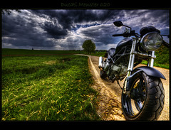 Bella macchina (Kemoauc) Tags: sky cloud green bike monster photoshop nikon wolken motorcycle grn ducati sunrays hdr topaz d90 photomatix nikond90 hdrterrorist kemoauc