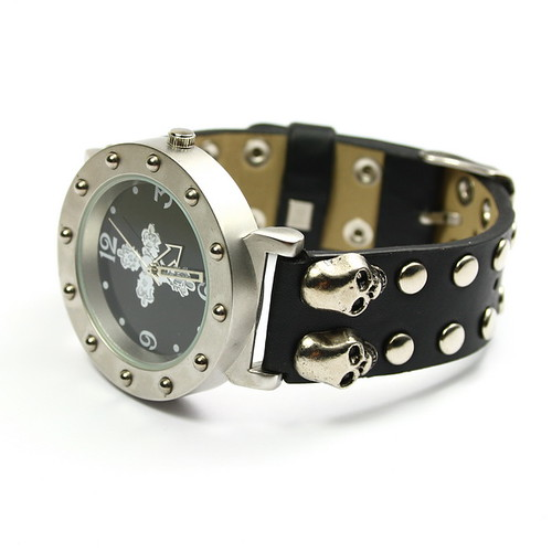 Unisex Trendy Punk Rock Skeleton Bracelet Leather Watch