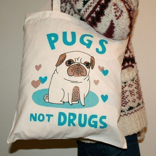 Pugs Not Drugs tote by Gemma Correll