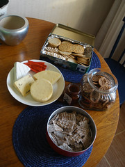 Cheeses with crackers and jam