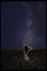 the Gatekeeper (Ben Canales) Tags: longexposure blue portrait orange woman field grass vertical female night oregon dark nude stars star back model apache gate arms farm wheat galaxy torso shoulders prairie redhair starry gatekeeper milkyway singleexposure earthandspace peopleandspace landscapeastrophotography bencanales thestartrail competition:astrophoto=2011