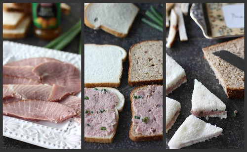 Ham Tea Sandwich Collage
