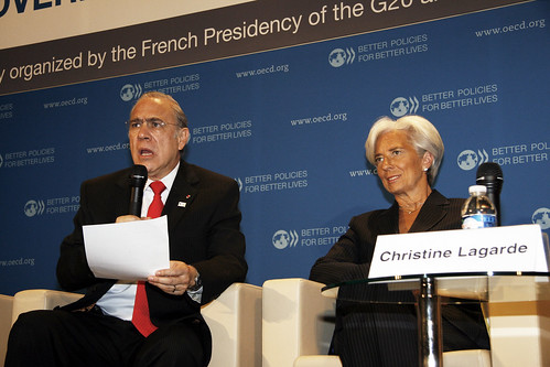 Angel Gurría, Secretary-General of the OECD and Christine Lagarde, French Minister of Finance