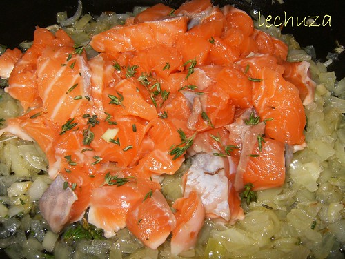 Tarta de salmón-sofreir