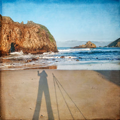 Shadow of my soul (pixelmama) Tags: ocean california sea sunlight relax sand shadows bigsur scavengerhunt pfeifferbeach  selfie hcs justaftersunrise photographerspose wavingatyou pacificeocean flypapertextures clichesaturday shadowofmysoul springpainterlycollection trinaandhertripod