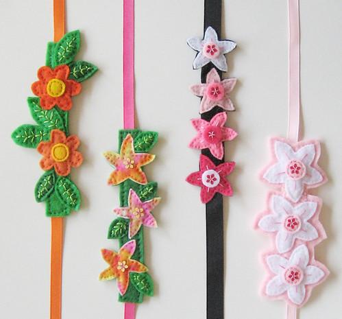 Spring Flower Felt Cuff Bracelets