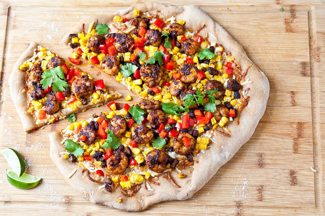 Shrimp, Black Bean, and Grilled Corn Pizza