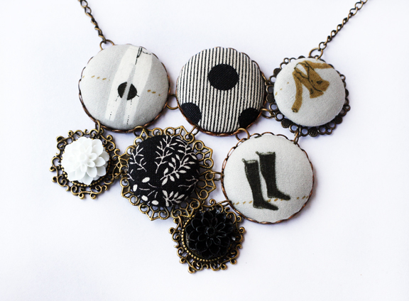 filigree metal fabric button necklace