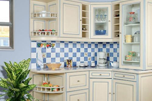 Cuisine Équipée Rustique cuisine équipée rustique - modèle traditionnel réchampie bleue - a