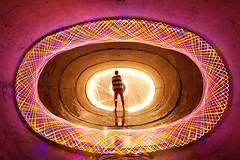 Steel Wool + Spiro (JohnnySevereWeather) Tags: light lightpainting wool water reflections painting lights saturated bright shaped steel tunnel fluorescent tunnels oval woolie spirographs lightstencil johnnyandrews woolspin johnnyseverweather ovaltunnel