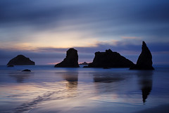 in Blue (Helminadia Ranford) Tags: travel seascape beach night oregon coast cloudy bandon allxpressus