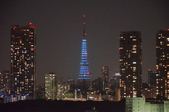 Tokyo Tower blue version (keiko.com) Tags: building japan night tokyo nikon cityscape 日本 tokyotower 東京 gettyimages d7000