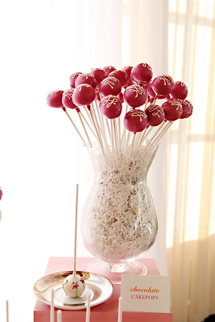 Cake Pops with Loops in Display Vase